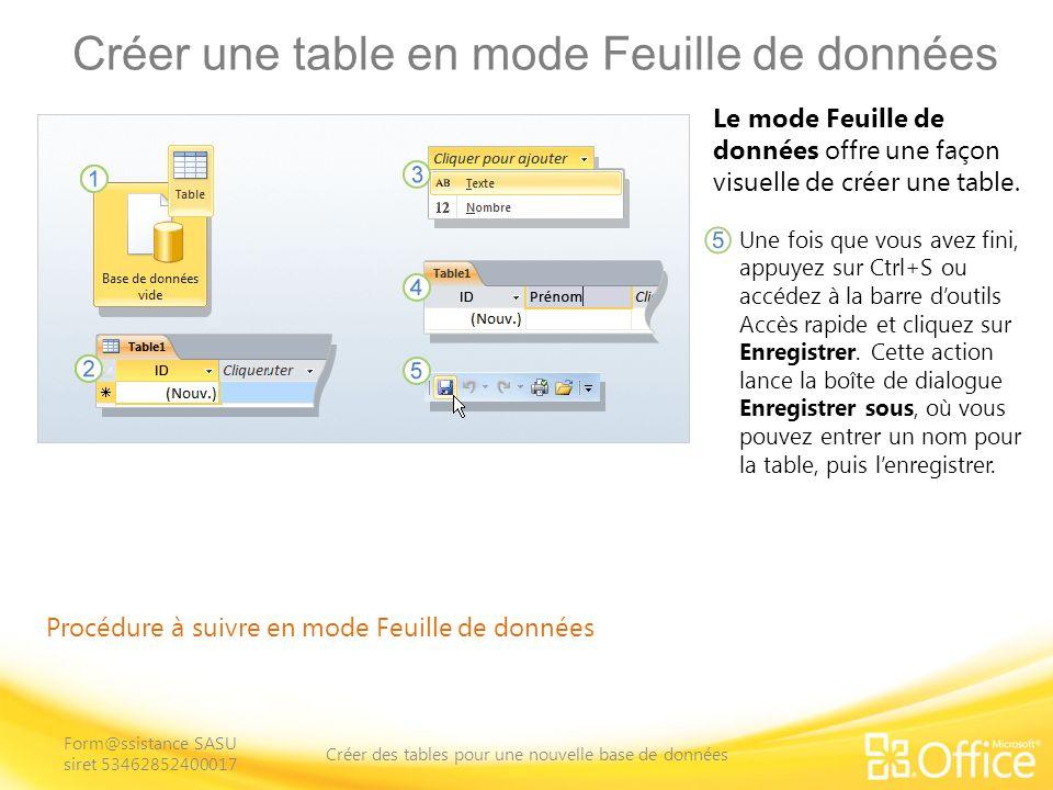 Créer une table en mode Feuille de données