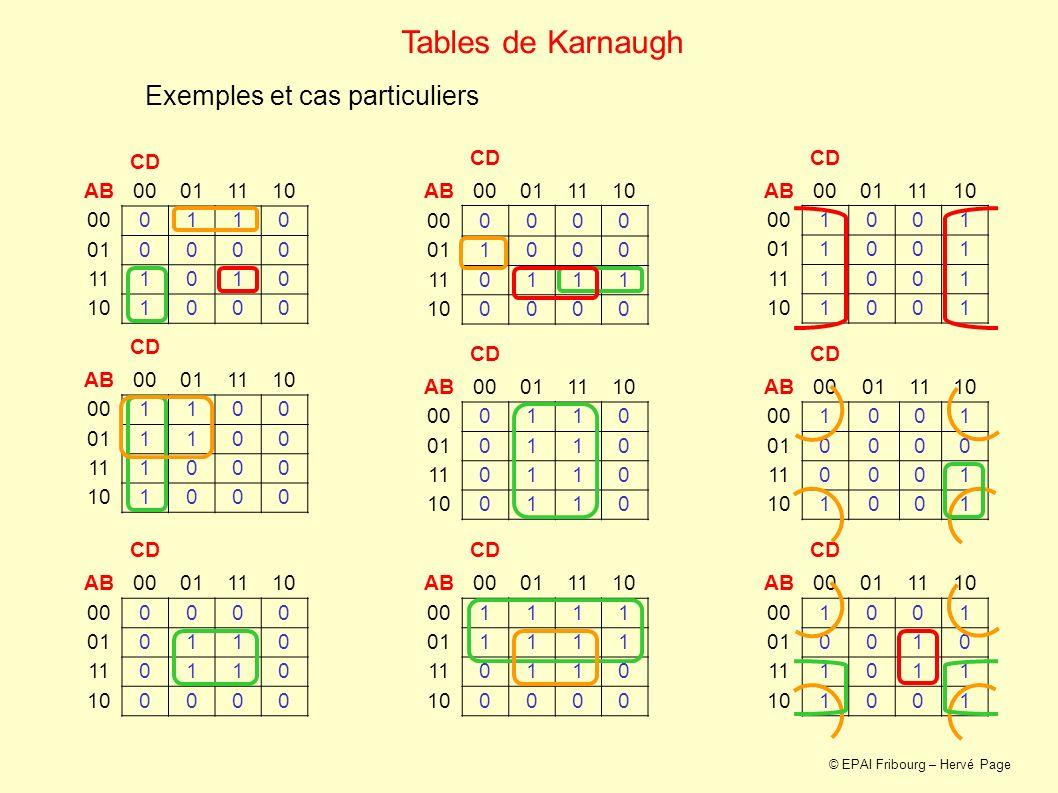 Tables de Karnaugh Exemples et cas particuliers CD AB 00 01 11 10 1 CD