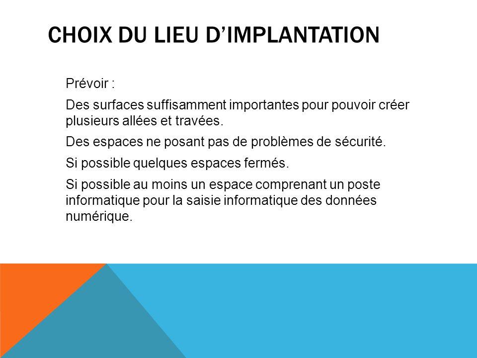 CHOIX DU LIEU D'IMPLANTATION