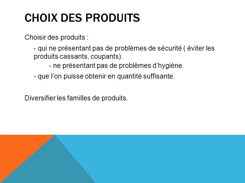 CHOIX DES PRODUITS Choisir des produits :