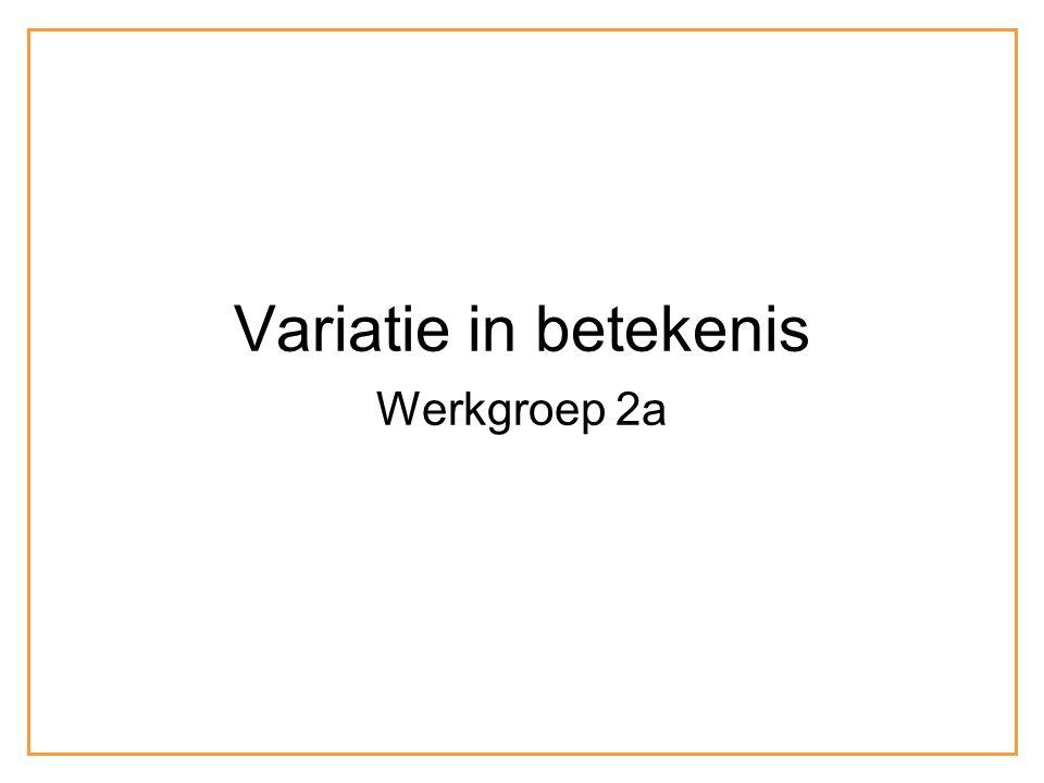 Variatie in betekenis Werkgroep 2a