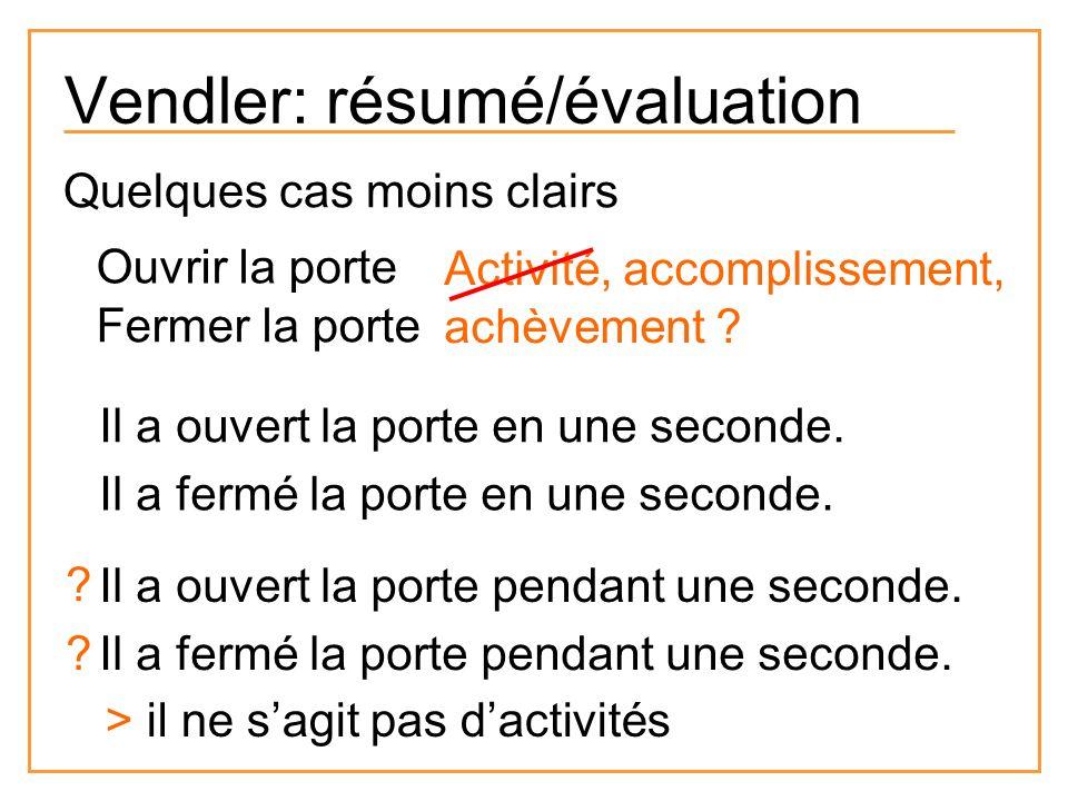 Vendler: résumé/évaluation