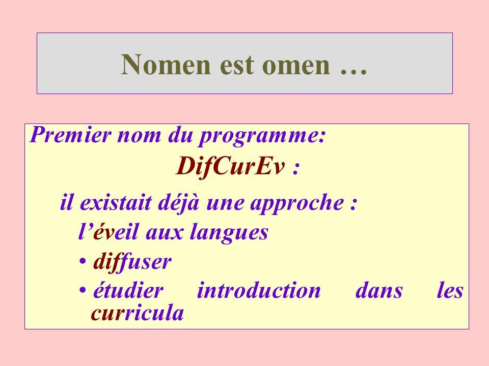 Nomen est omen … Premier nom du programme: DifCurEv :