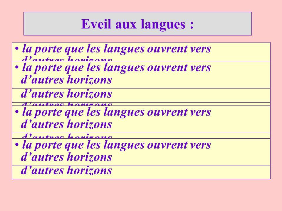 Eveil aux langues : la porte que les langues ouvrent vers d'autres horizons. la porte que les langues ouvrent vers d'autres horizons.