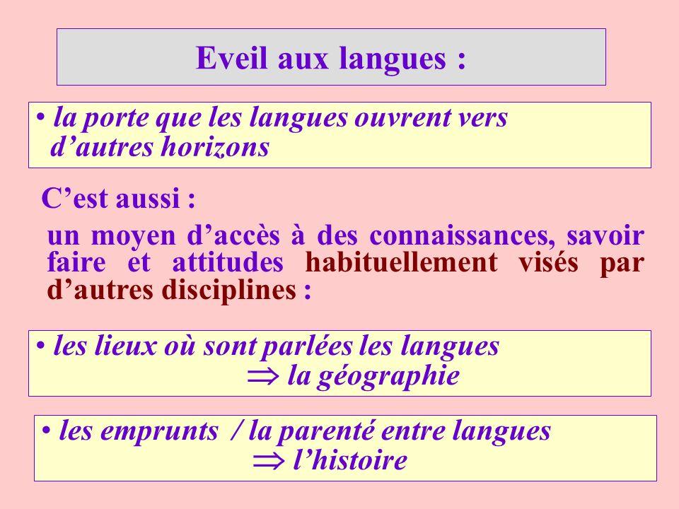 Eveil aux langues : la porte que les langues ouvrent vers d'autres horizons. C'est aussi :
