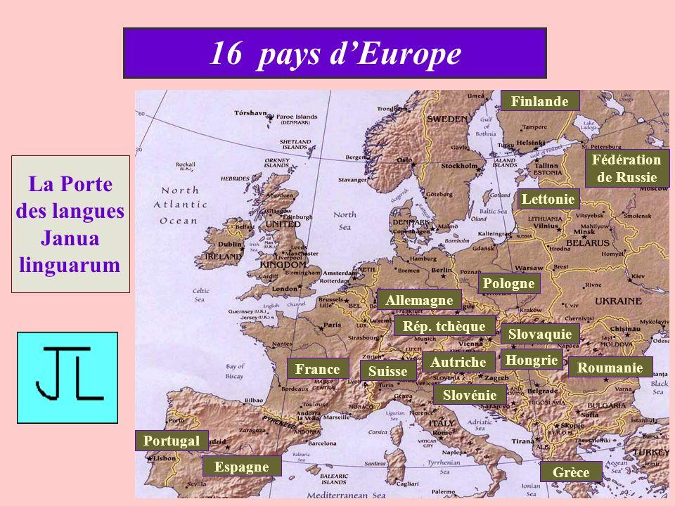 16 pays d'Europe La Porte des langues Janua linguarum Finlande