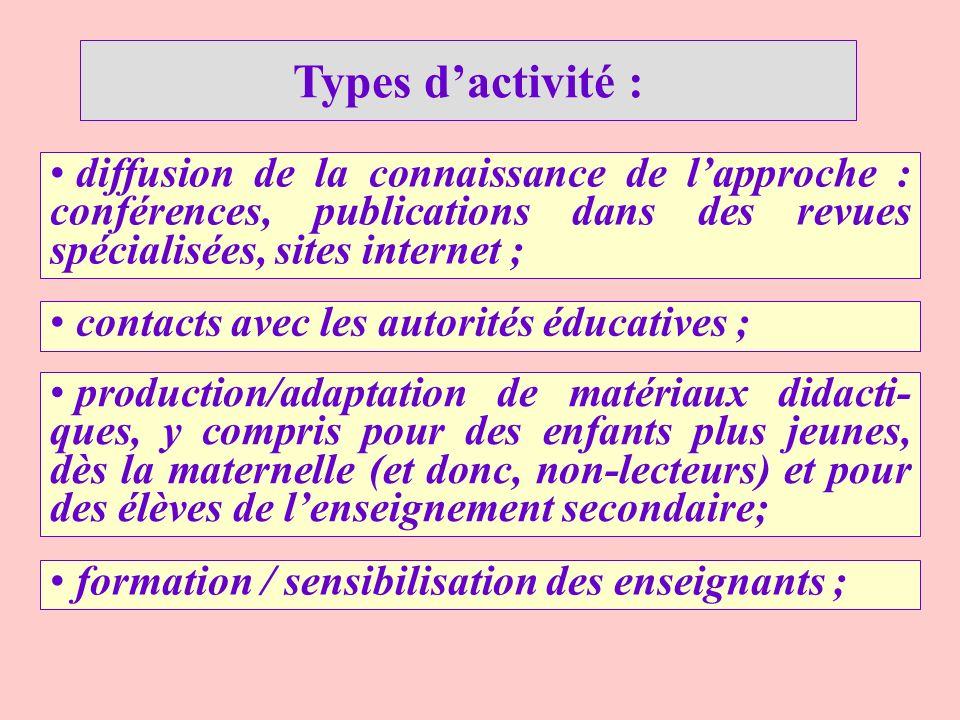 Types d'activité : diffusion de la connaissance de l'approche : conférences, publications dans des revues spécialisées, sites internet ;