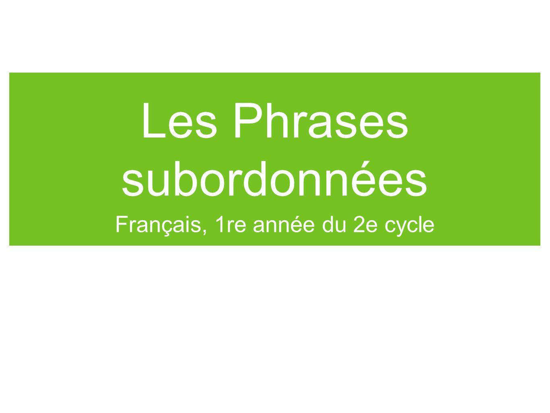 Les Phrases subordonnées