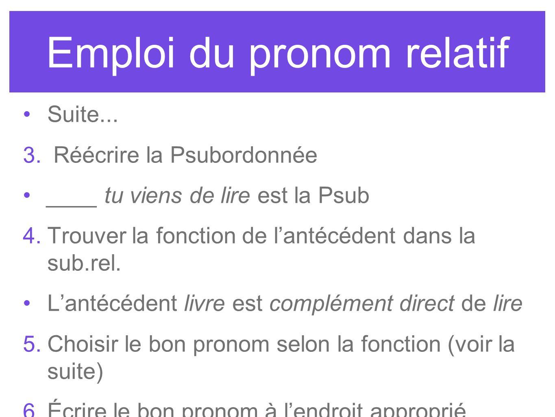 Emploi du pronom relatif