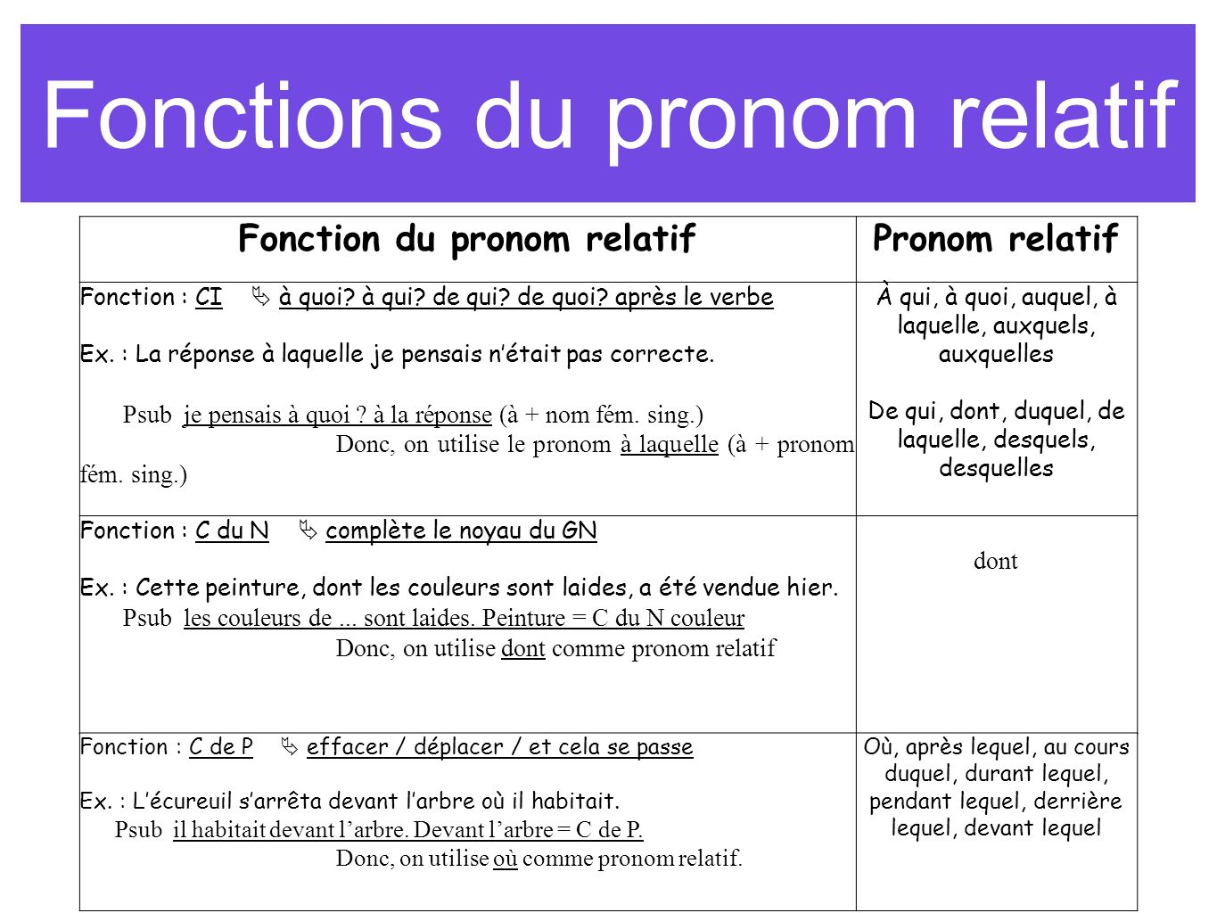 Fonctions du pronom relatif