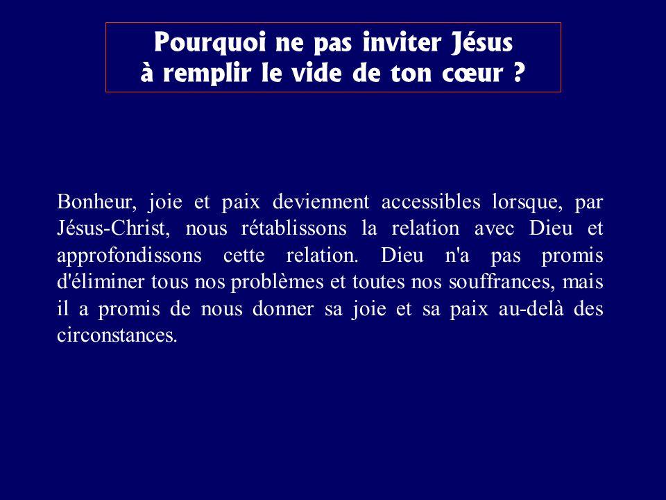 Pourquoi ne pas inviter Jésus à remplir le vide de ton cœur