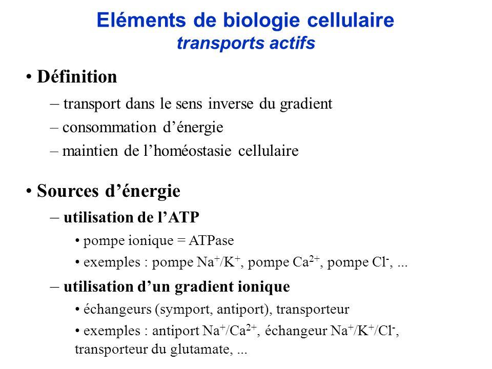 Eléments de biologie cellulaire transports actifs