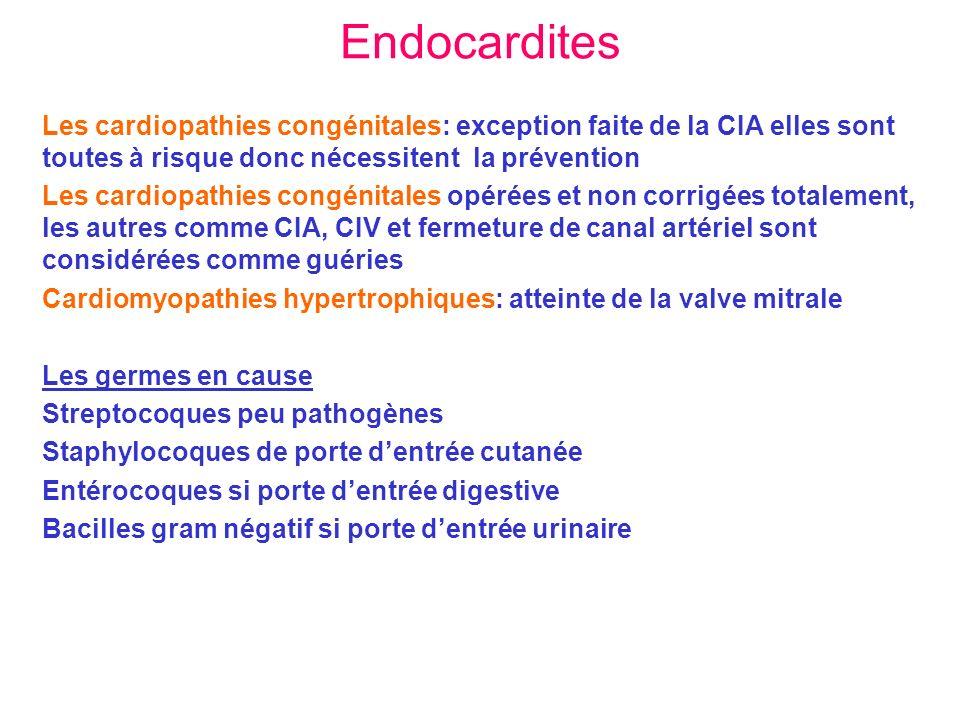 Endocardites Les cardiopathies congénitales: exception faite de la CIA elles sont toutes à risque donc nécessitent la prévention.