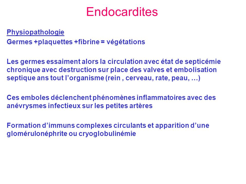 Endocardites Physiopathologie