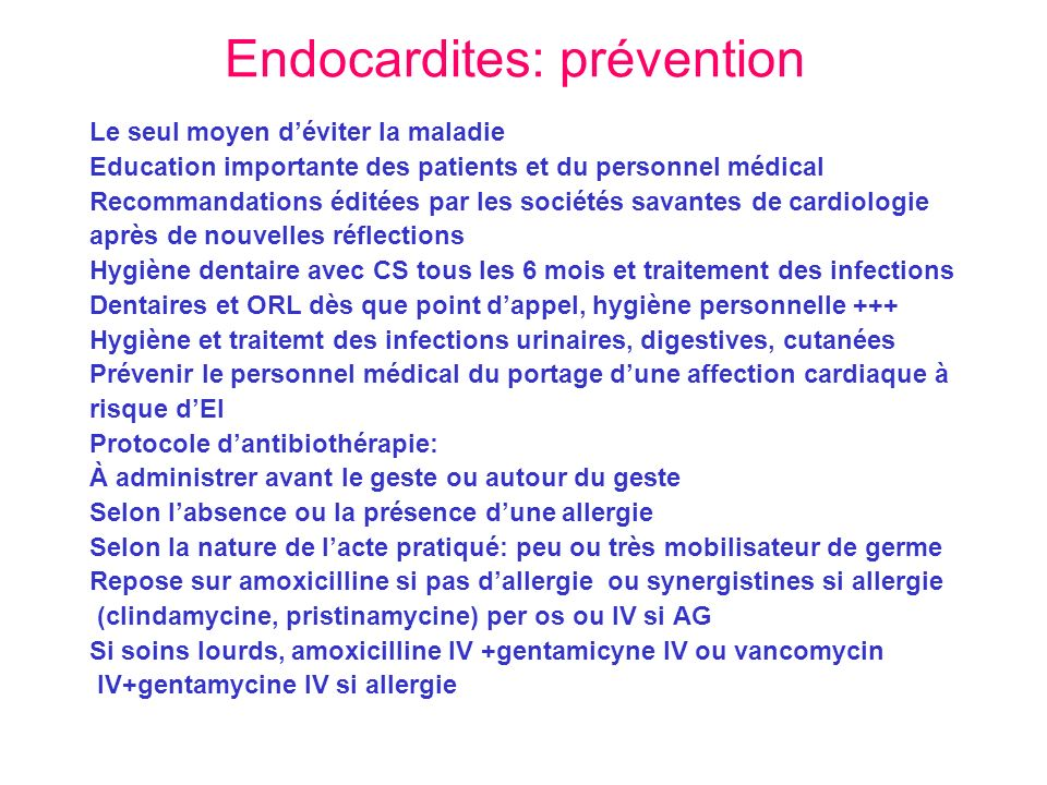 Endocardites: prévention