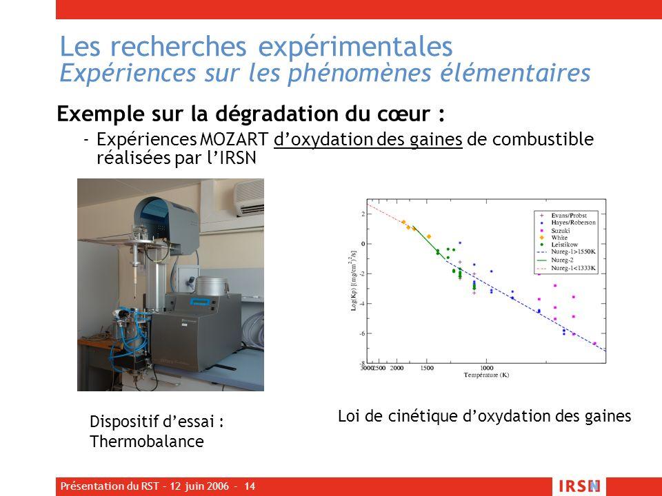 Les recherches expérimentales Expériences sur les phénomènes élémentaires