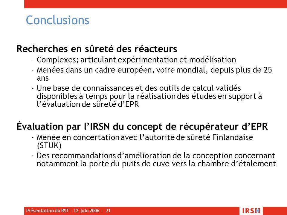 Conclusions Recherches en sûreté des réacteurs