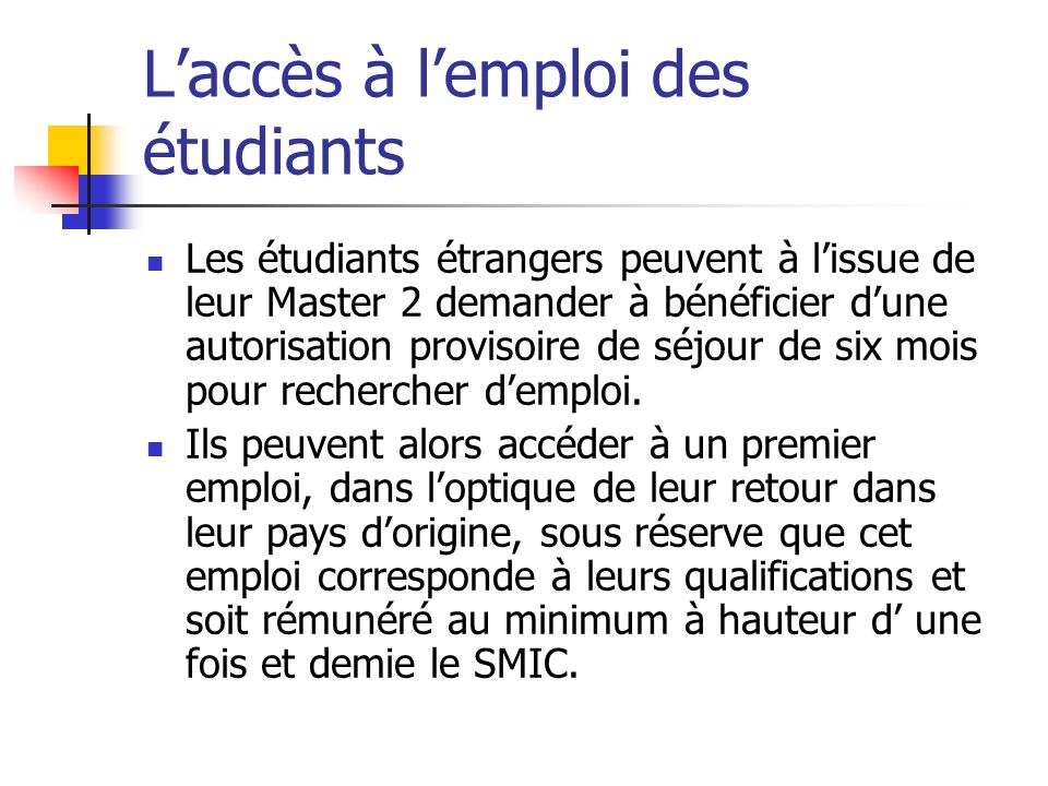 L'accès à l'emploi des étudiants