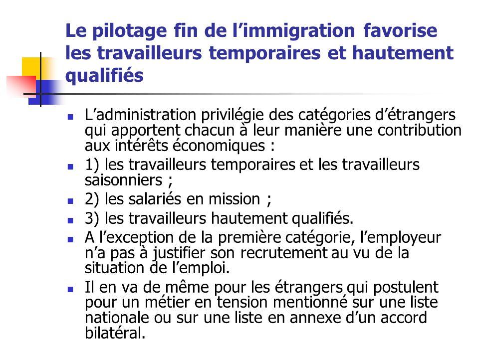Le pilotage fin de l'immigration favorise les travailleurs temporaires et hautement qualifiés