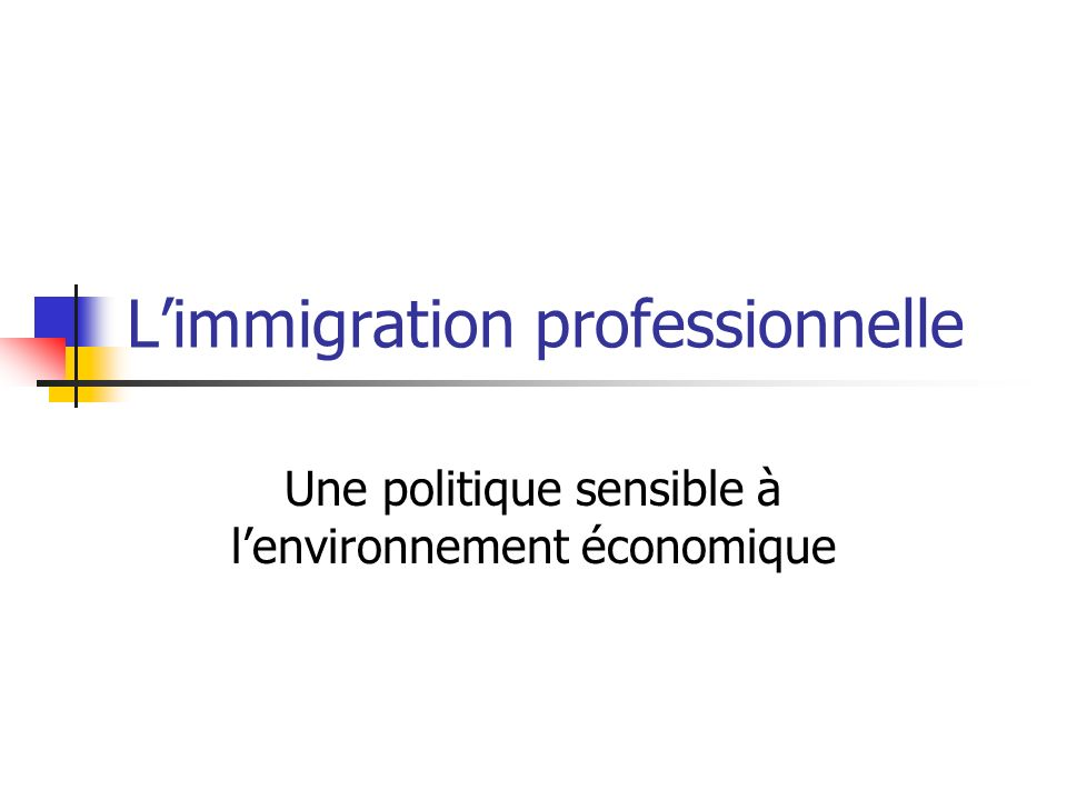 L'immigration professionnelle