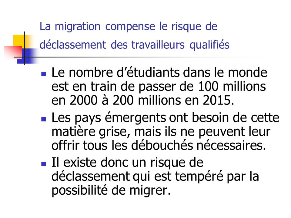 La migration compense le risque de déclassement des travailleurs qualifiés