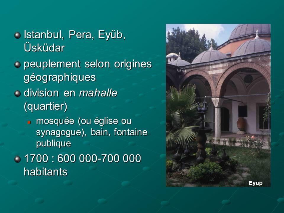 Istanbul, Pera, Eyüb, Üsküdar peuplement selon origines géographiques