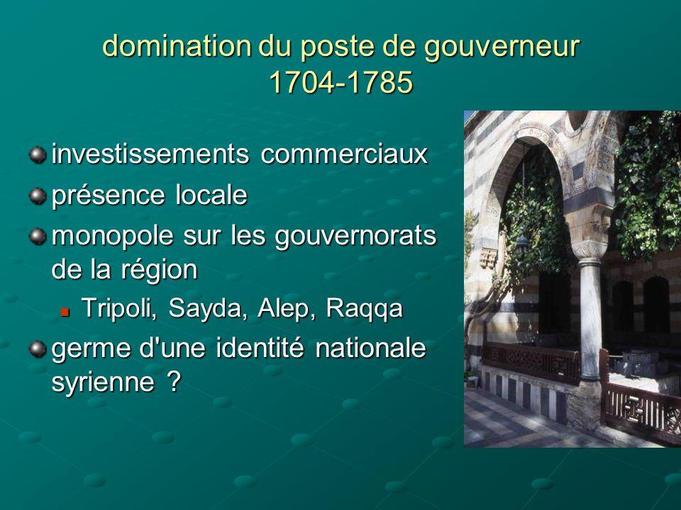 domination du poste de gouverneur 1704-1785