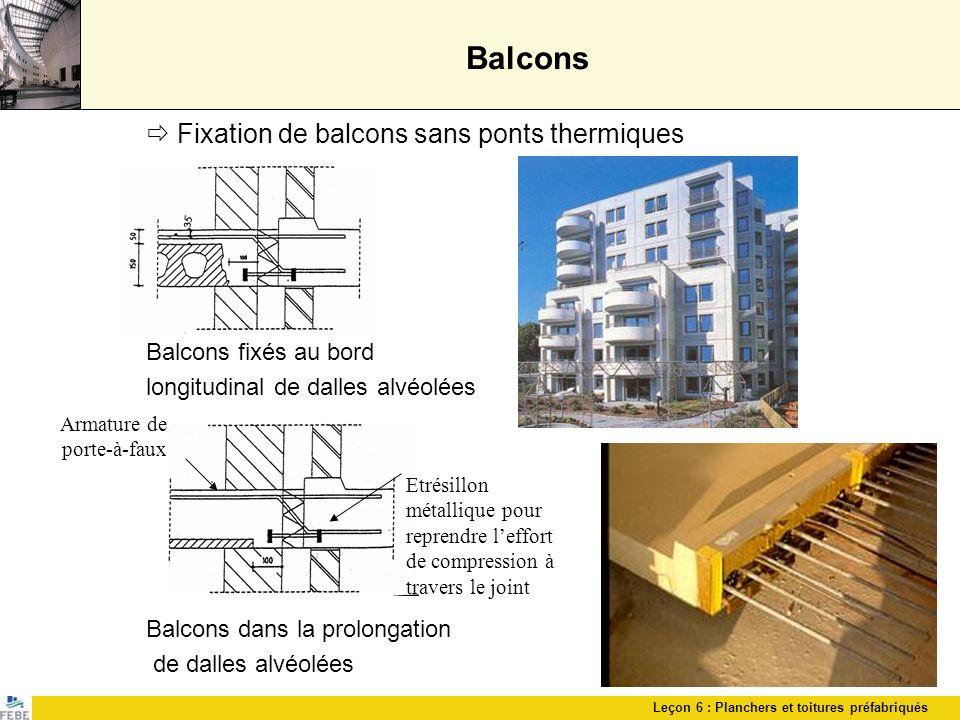 Balcons  Fixation de balcons sans ponts thermiques