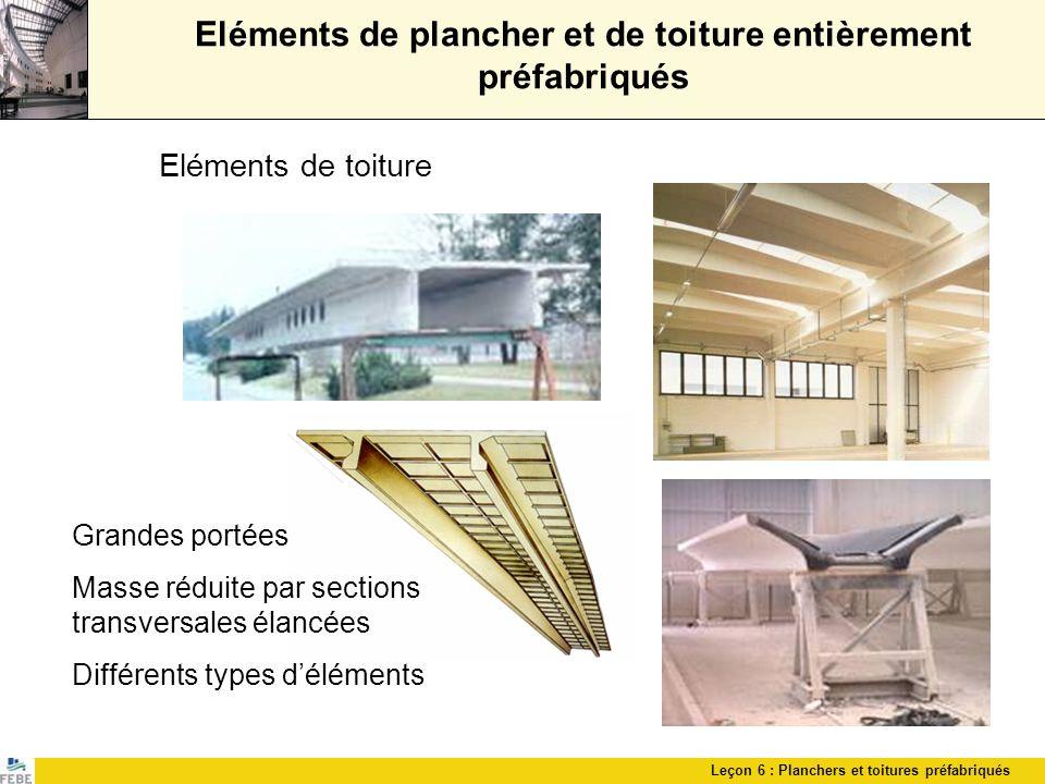 Eléments de plancher et de toiture entièrement préfabriqués