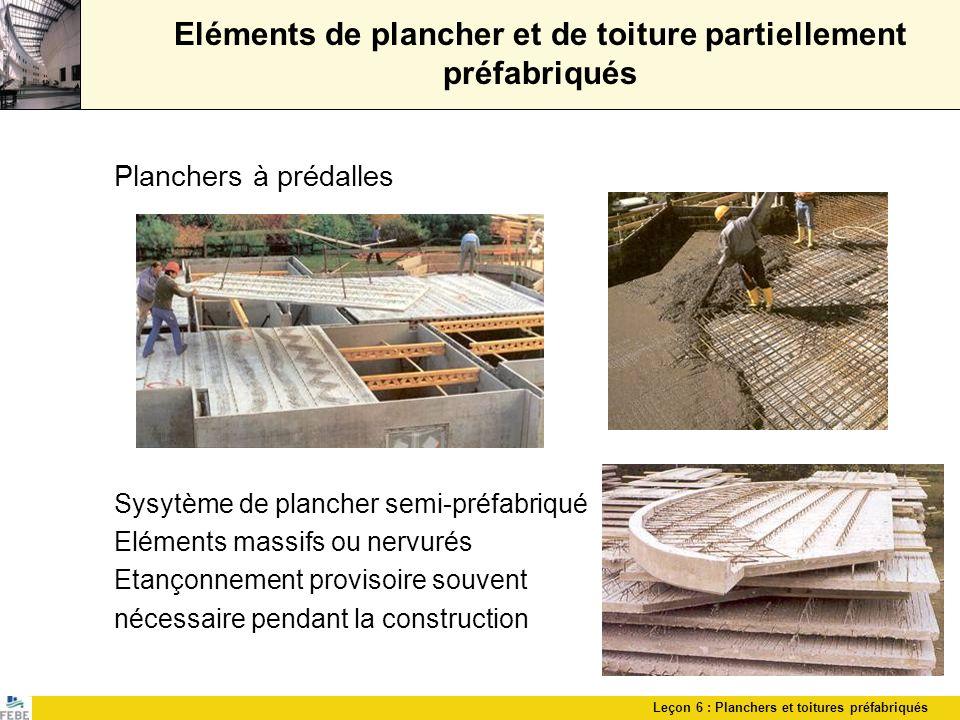 Eléments de plancher et de toiture partiellement préfabriqués