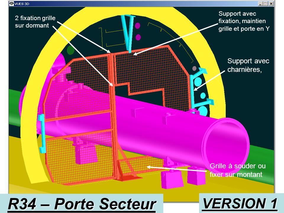 R34 – Porte Secteur VERSION 1 Support avec charnières,