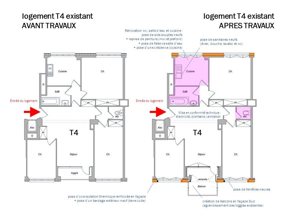 Plan travaux T4 logement T4 existant AVANT TRAVAUX