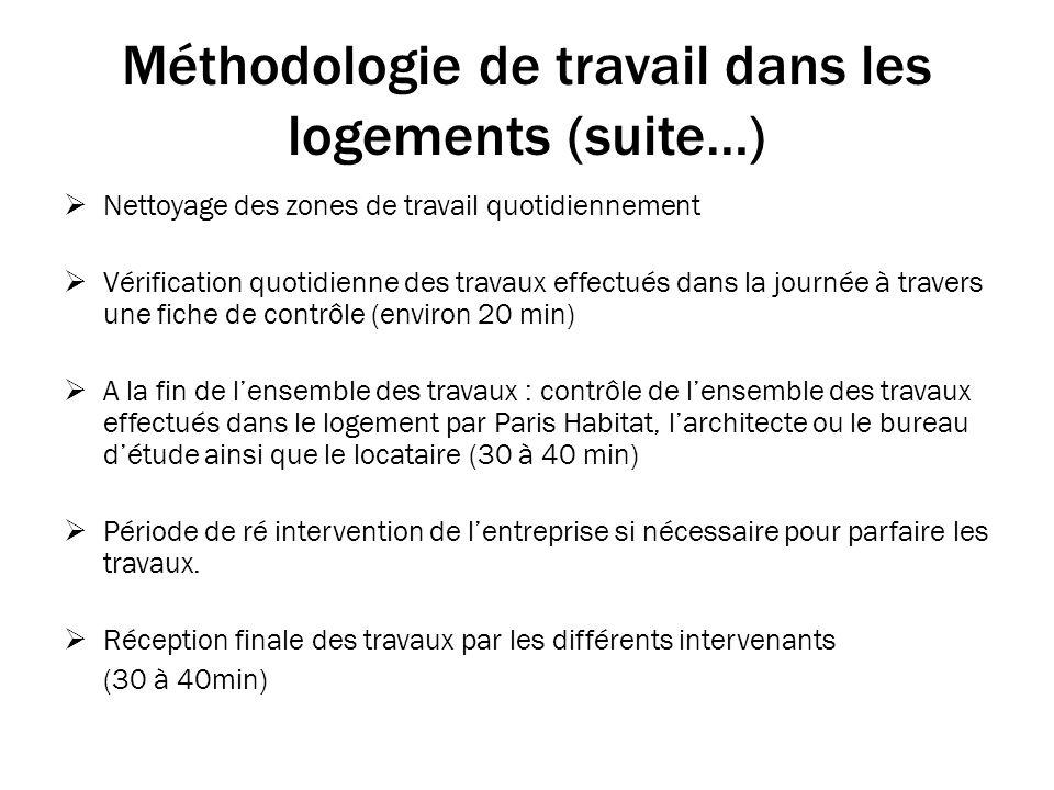 Méthodologie de travail dans les logements (suite…)