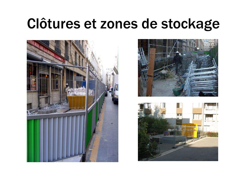 Clôtures et zones de stockage