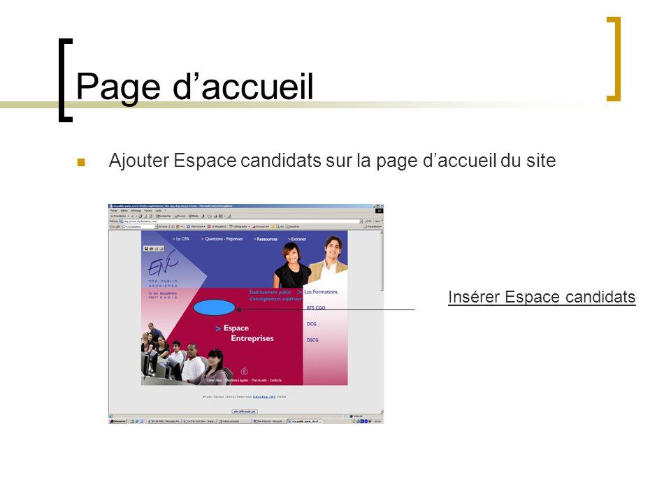 Page d'accueil Ajouter Espace candidats sur la page d'accueil du site