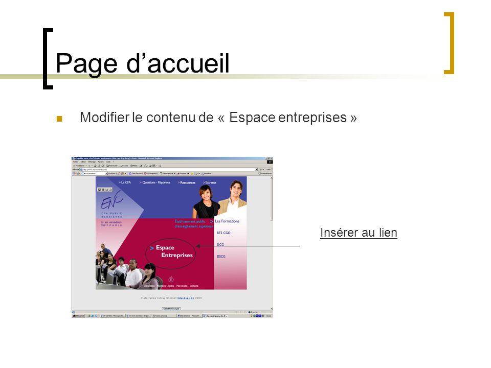 Page d'accueil Modifier le contenu de « Espace entreprises »