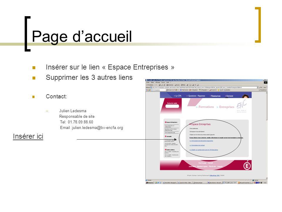 Page d'accueil Insérer sur le lien « Espace Entreprises »