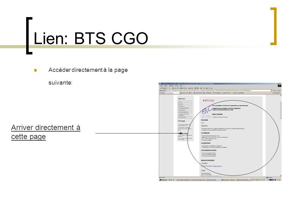 Lien: BTS CGO Arriver directement à cette page