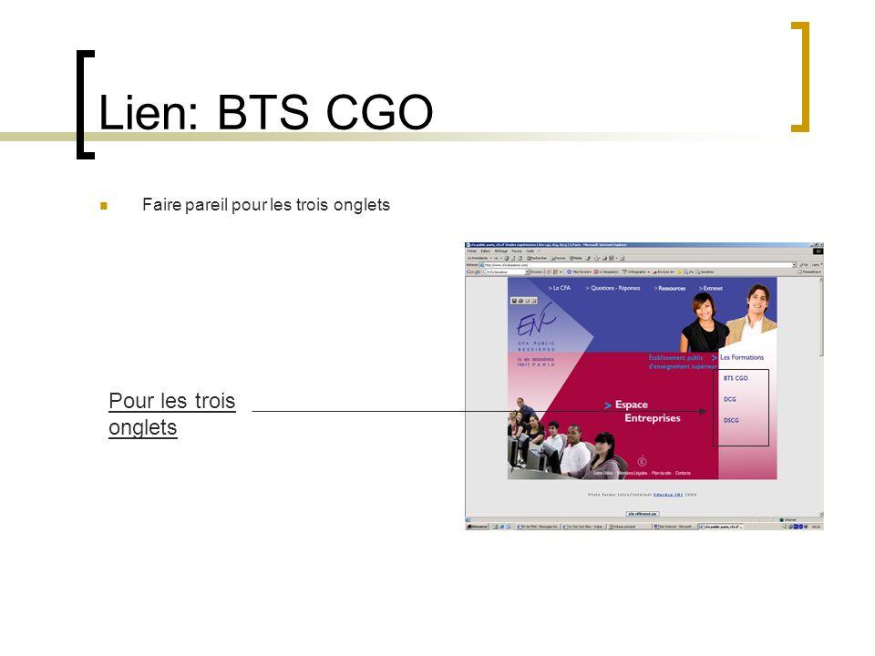 Lien: BTS CGO Pour les trois onglets