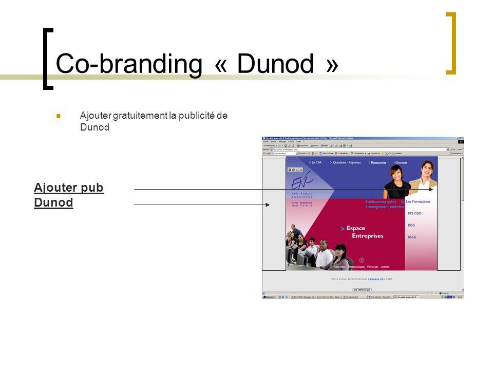 Co-branding « Dunod » Ajouter pub Dunod