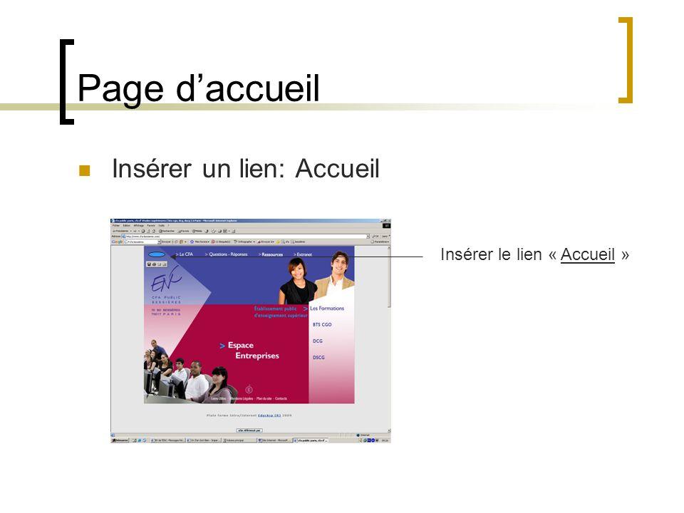 Page d'accueil Insérer un lien: Accueil Insérer le lien « Accueil »