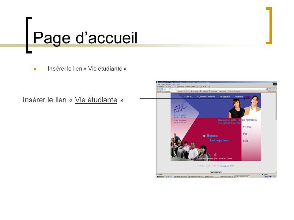 Page d'accueil Insérer le lien « Vie étudiante »