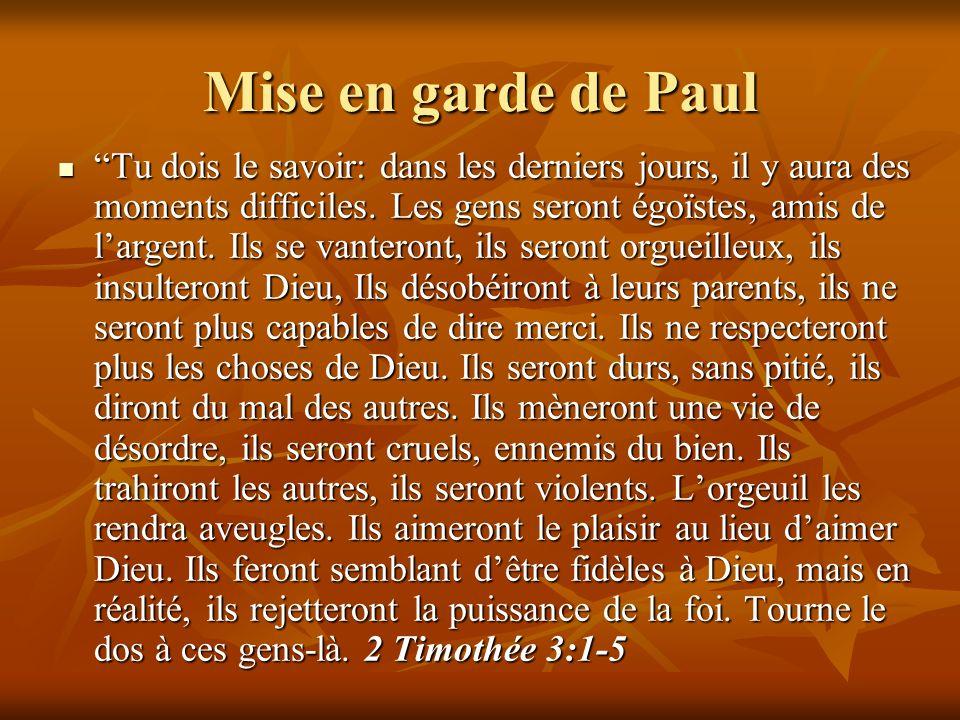 Mise en garde de Paul