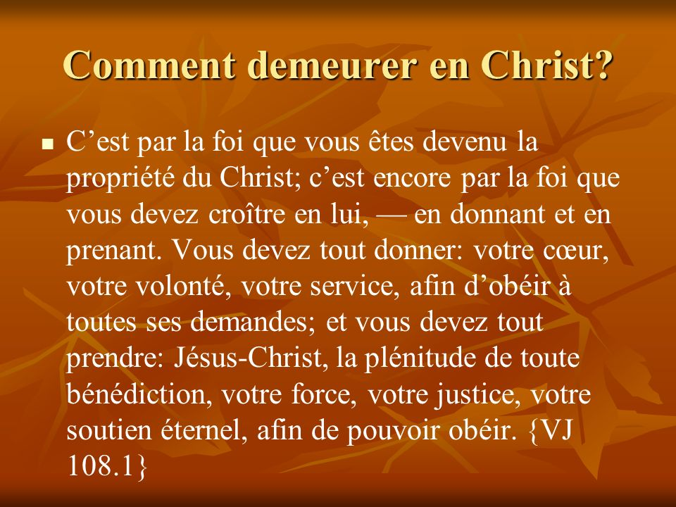 Comment demeurer en Christ