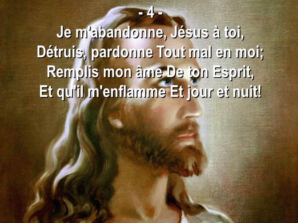 Je m abandonne, Jésus à toi, Détruis, pardonne Tout mal en moi;