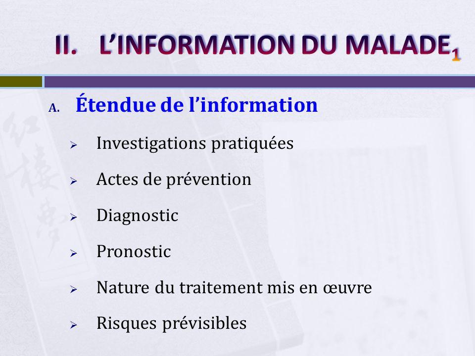 L'INFORMATION DU MALADE1