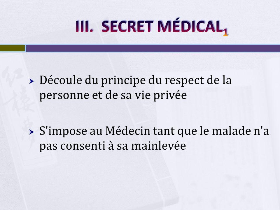 SECRET MÉDICAL1 Découle du principe du respect de la personne et de sa vie privée.