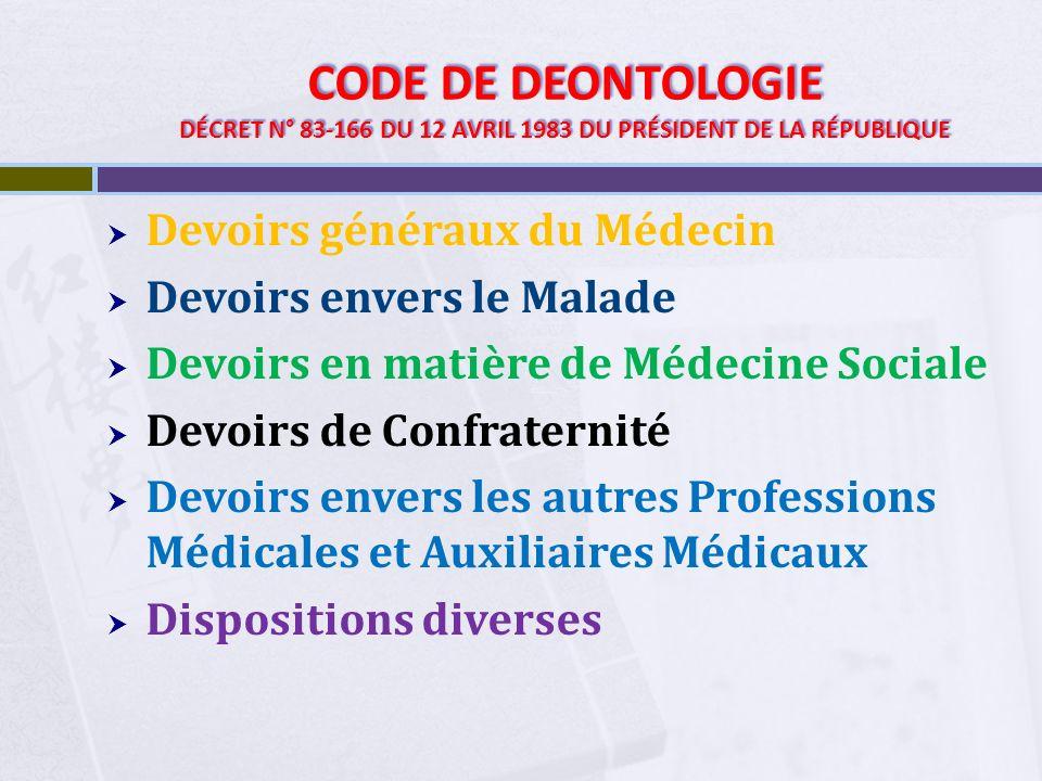 CODE DE DEONTOLOGIE DÉCRET N° 83-166 DU 12 AVRIL 1983 DU PRÉSIDENT DE LA RÉPUBLIQUE