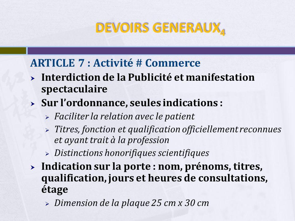 DEVOIRS GENERAUX4 ARTICLE 7 : Activité # Commerce