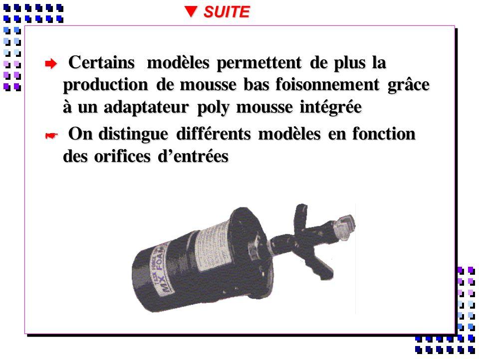 On distingue différents modèles en fonction des orifices d'entrées
